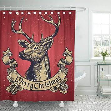 Emvency Waterproof Fabric Shower Curtain Hooks Reindeer Of Christmas Deer Text Vintage Buck Draw Santa Extra