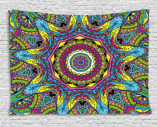 Ambesonne Psychedelic Tapestry, Abstract Unusual Figure with Color and Form Details Hippie Arabesque Retro Pattern, Wall Hanging for Bedroom Living Room Dorm, 80 W X 60 L Inches, Multi