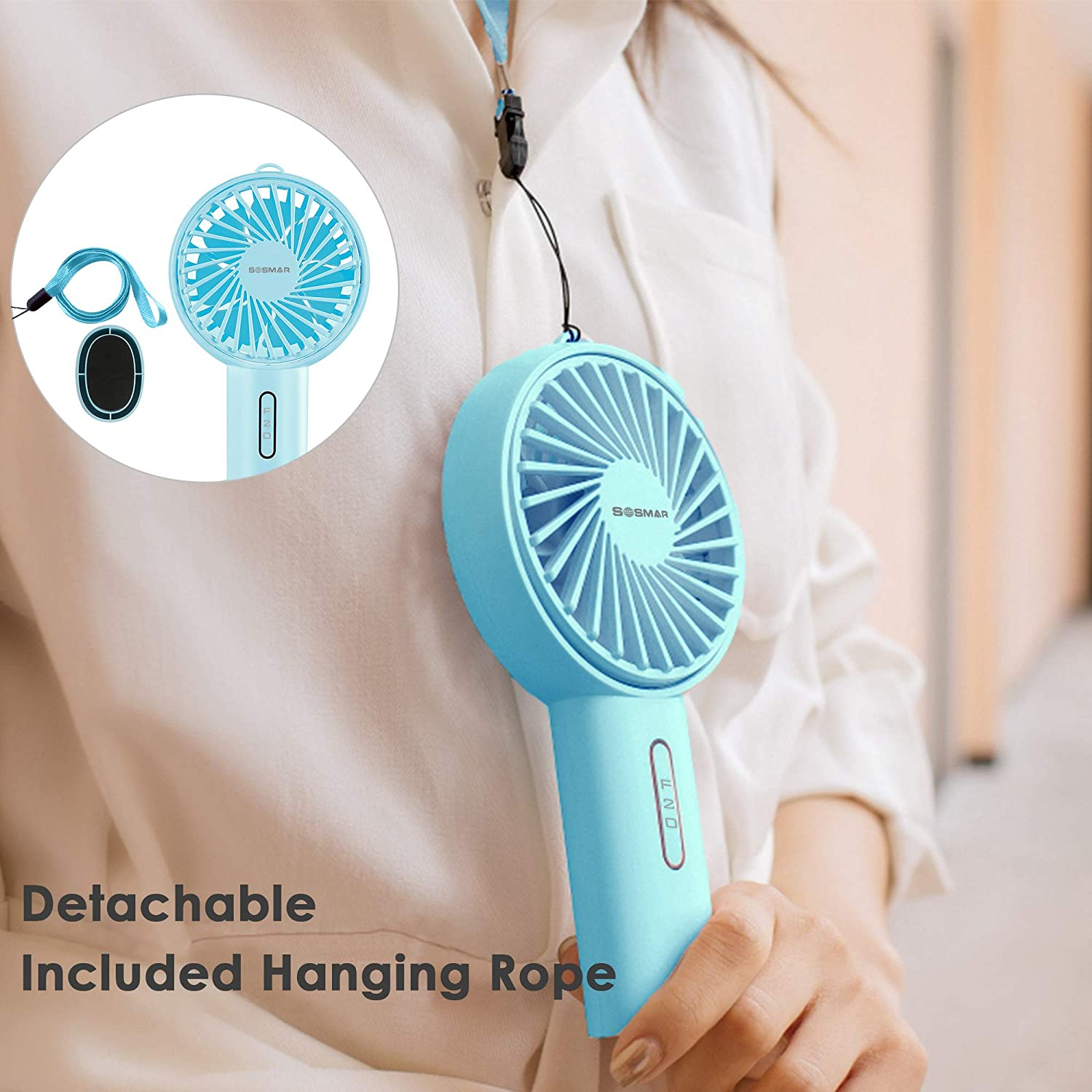 SOSMAR Mini Handheld Fan, Portable Electric Fan, USB Rechargeable Battery, Support Up and Down Adjustment of 30 Degrees, Quiet, 3 Level Speed for Outdoor, Hiking, Office Green