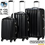 3 Piece Extra Strong ABS Luggage Set Hard-shell Suitcase Trolley 4 Wheel Spinner Travel Light-Weight 3 Sizes Black Silver