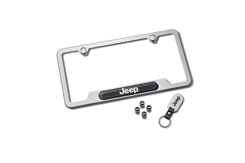 Mopar 82215852 Jeep Logo Polished License Plate Frame Set
