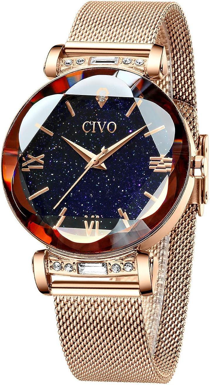 CIVO Relojes Mujer Oro Rosa Reloj de Pulsera Mujer Impermeable de Malla de Acero Inoxidable Relojes para Mujer Vestir Elegantes Negocios