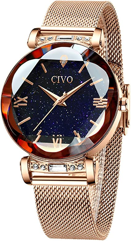 CIVO Relojes Mujer Oro Rosa Reloj de Pulsera Mujer Impermeable ...
