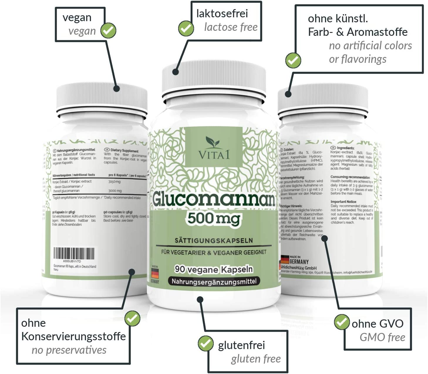 VITA1 Glucomannan 500mg aE Appetite suppressant Capsules 2-Weeks-Supply aE Vegan Appetite Reducer from The Konjac Root aE Made in Germany
