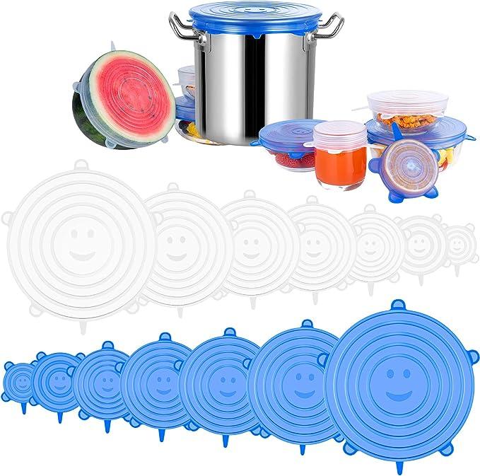 Lattine Scodelle Nv Wang Coperchi in Silicone,Tappi per Lattine 5 Pezzi Coperchio in Silicone per Alimenti Riutilizzabile per Vari Contenitori Piatti Microonde e Freezer
