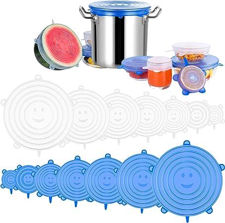 Hua Xin Tapas de Silicona El/ásticas,5 Tapas Silicona Ajustables Cocina,Sin BPA,Reutilizable Fundas para Alimentos Tapa Tazas