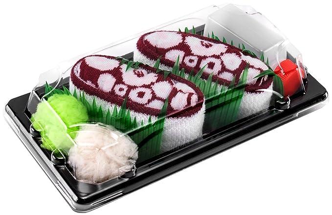 Sushi Socks Box - 1 par de CALCETINES: Nigiri Pulpo Rojo - REGALO DIVERTIDO,