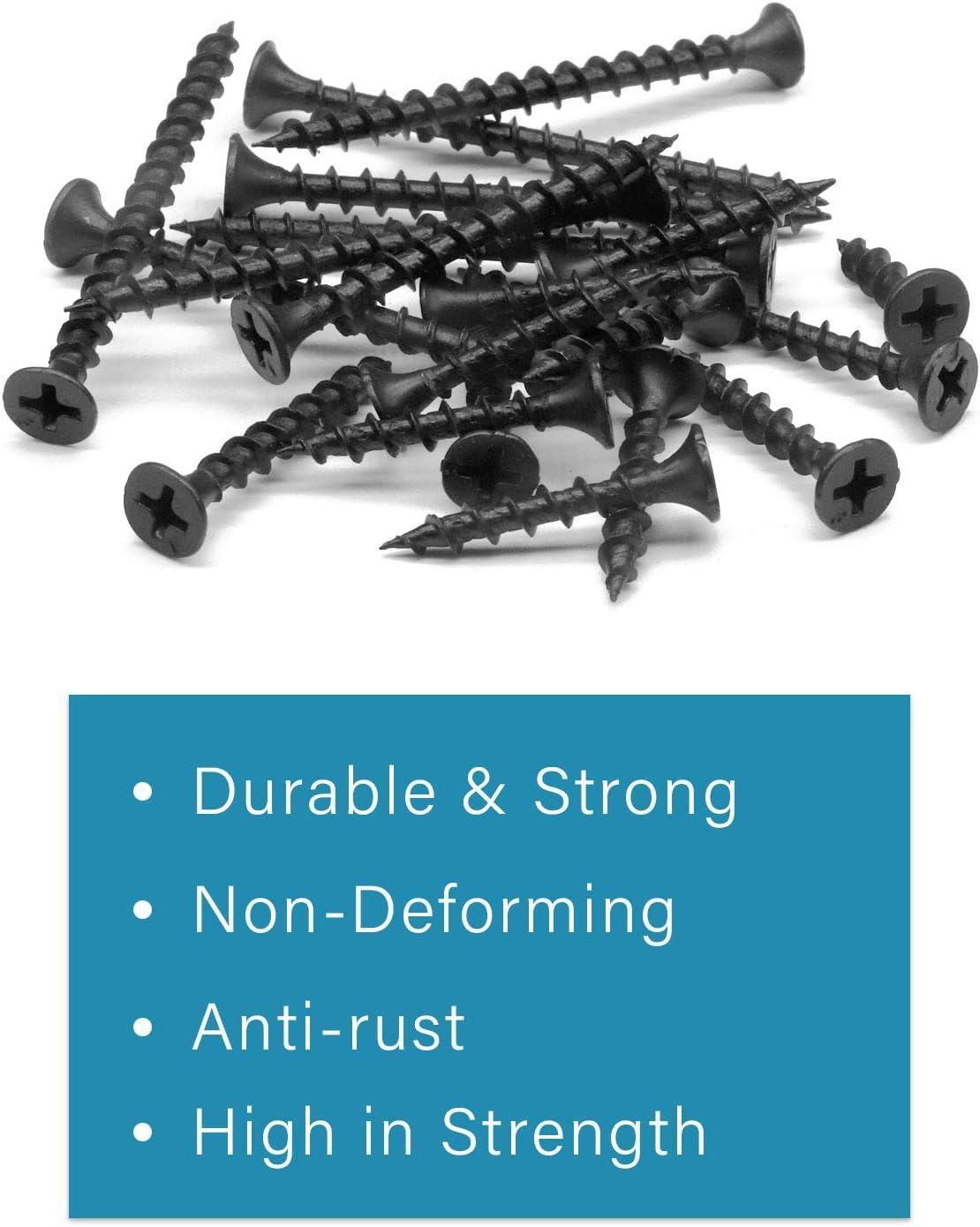 IMScrews 220pcs #7 Coarse Thread Drywall Screws with Phillips Drive Black Oxide Bugle Head Self Drilling Wood Screws Assortment Kit Ideal for Drywall Sheetrock