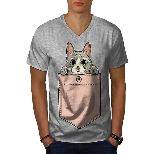 c2836c83a0bb wellcoda Pocket Cute Kitty Cat Mens V-Neck T-Shirt, Graphic Print Tee