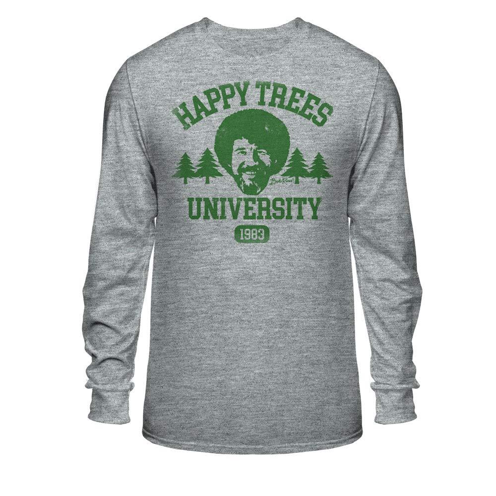 Locity Bob Ross Happy Trees University Large,  Athletic Heather Shirts