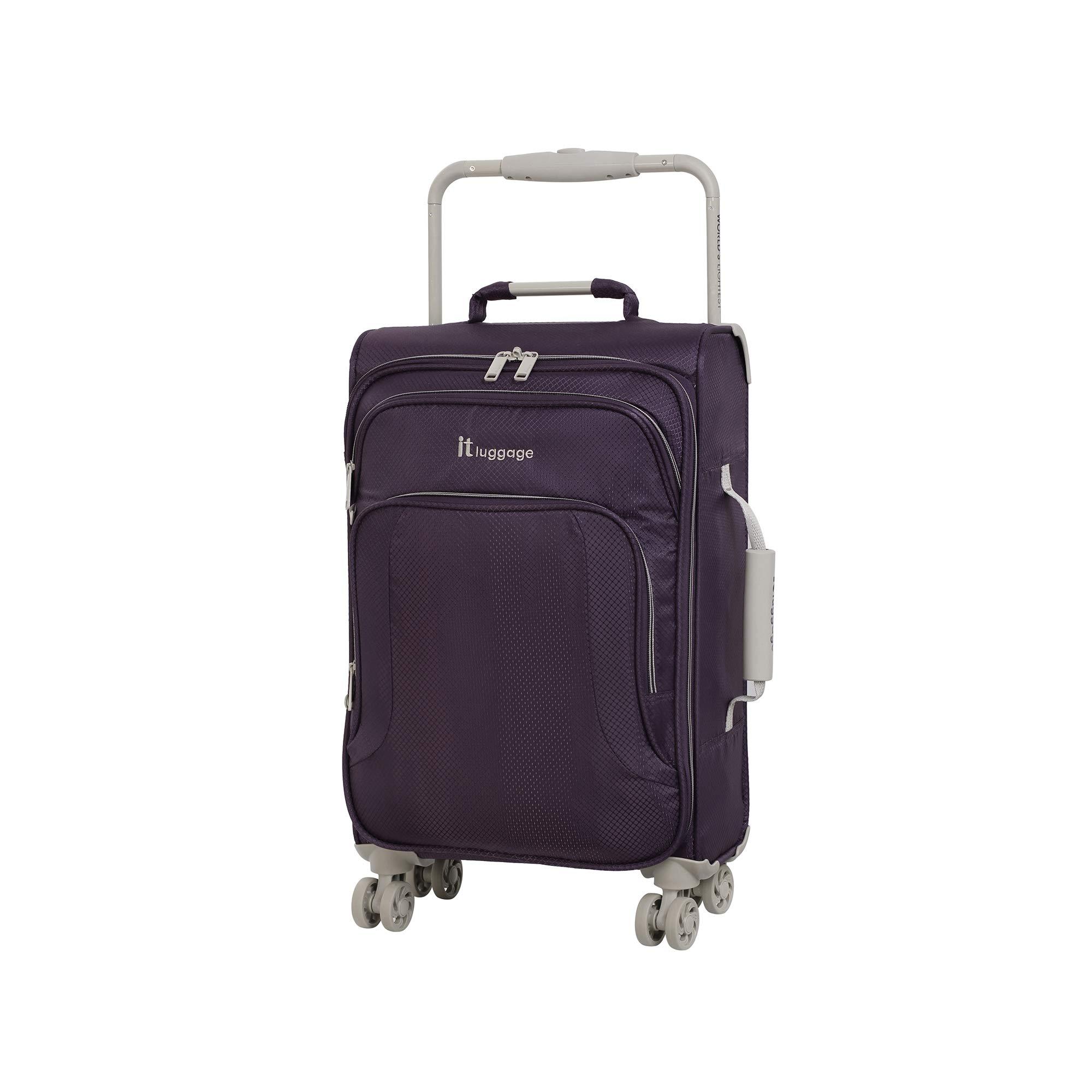 IT Luggage 22'' World's Lightest 8 Wheel Spinner, Purple Pennant With Cobblestone Trim