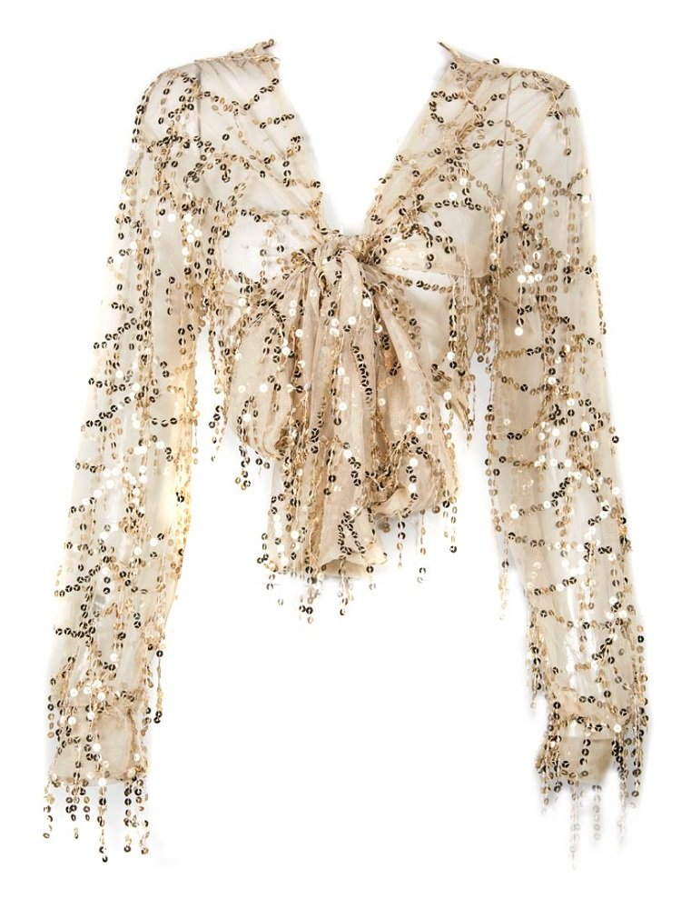Withchic Golden Sequin Crop Shirt Sheer V-Neck Tie Front Blouse Top Cover Ups (XL) by Withchic (Image #1)
