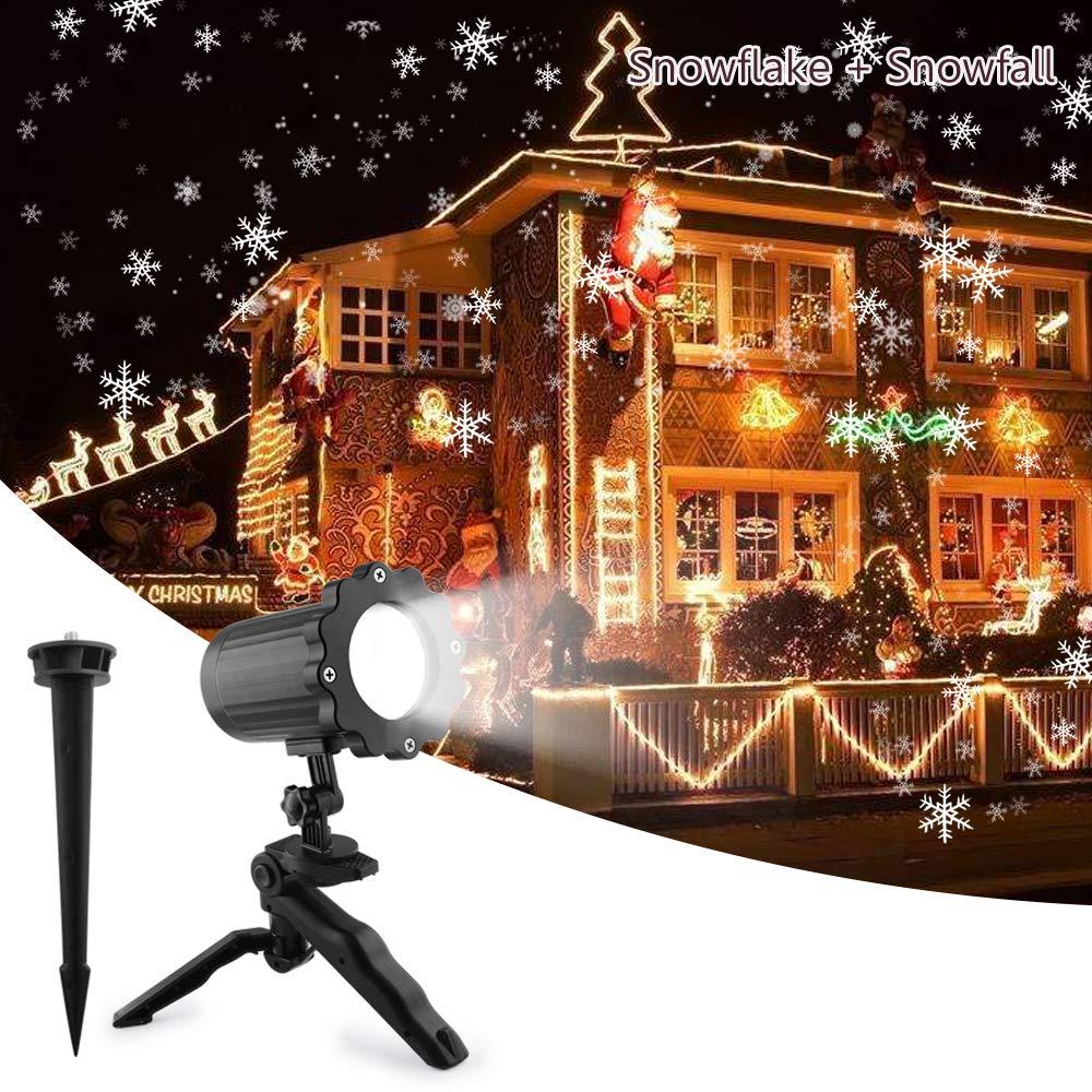 Christmas projetor lights comkes snowflake projector light snowfall light fairy landscape light show waterproof rotating spotlight projection for christmas