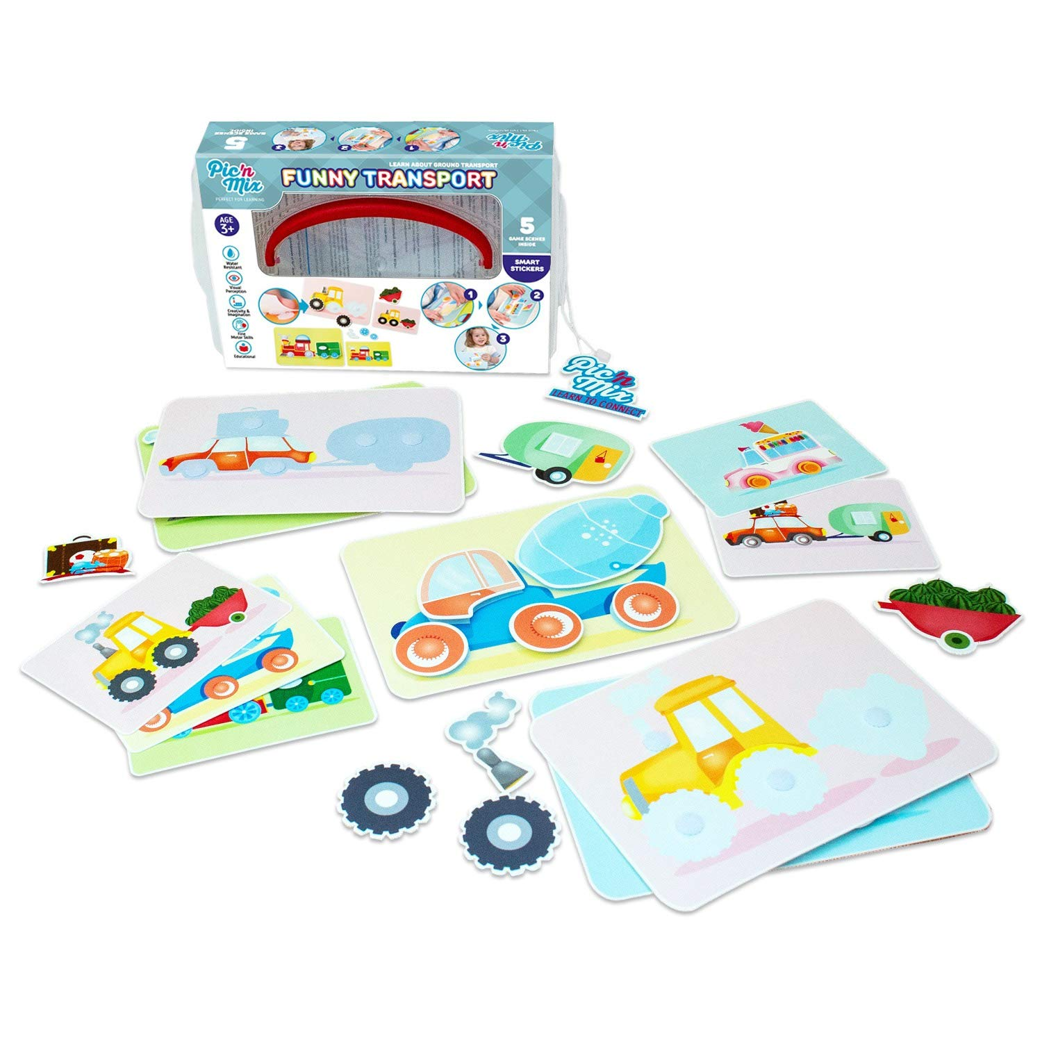 Funny Transport Puzzles for Kids   Picnmix Matching Game for Toddlers 2 Years and Up. Educational Board Game   Preschool Learning Toy. Fine Motor Skills Toy for Boys and Girls