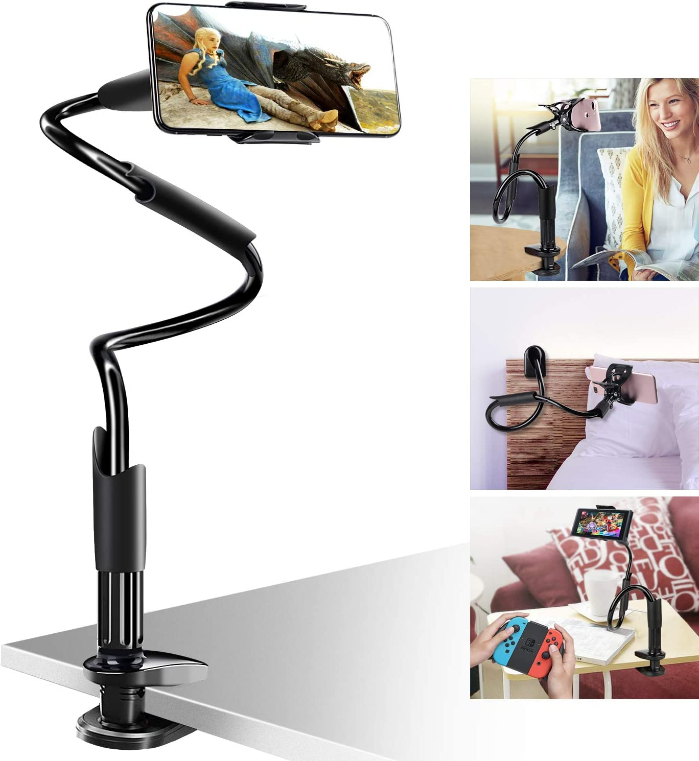 Bed Phone Holder Gooseneck Mount, B-Land Clip Cell Phone Holder for Desk Flexible Arm Clamp Mount Stand for Phone 11 Pro XS Max XR X 8 7 6 Plus Samsung S10 S9 S8 Nintendo Switch (Black)
