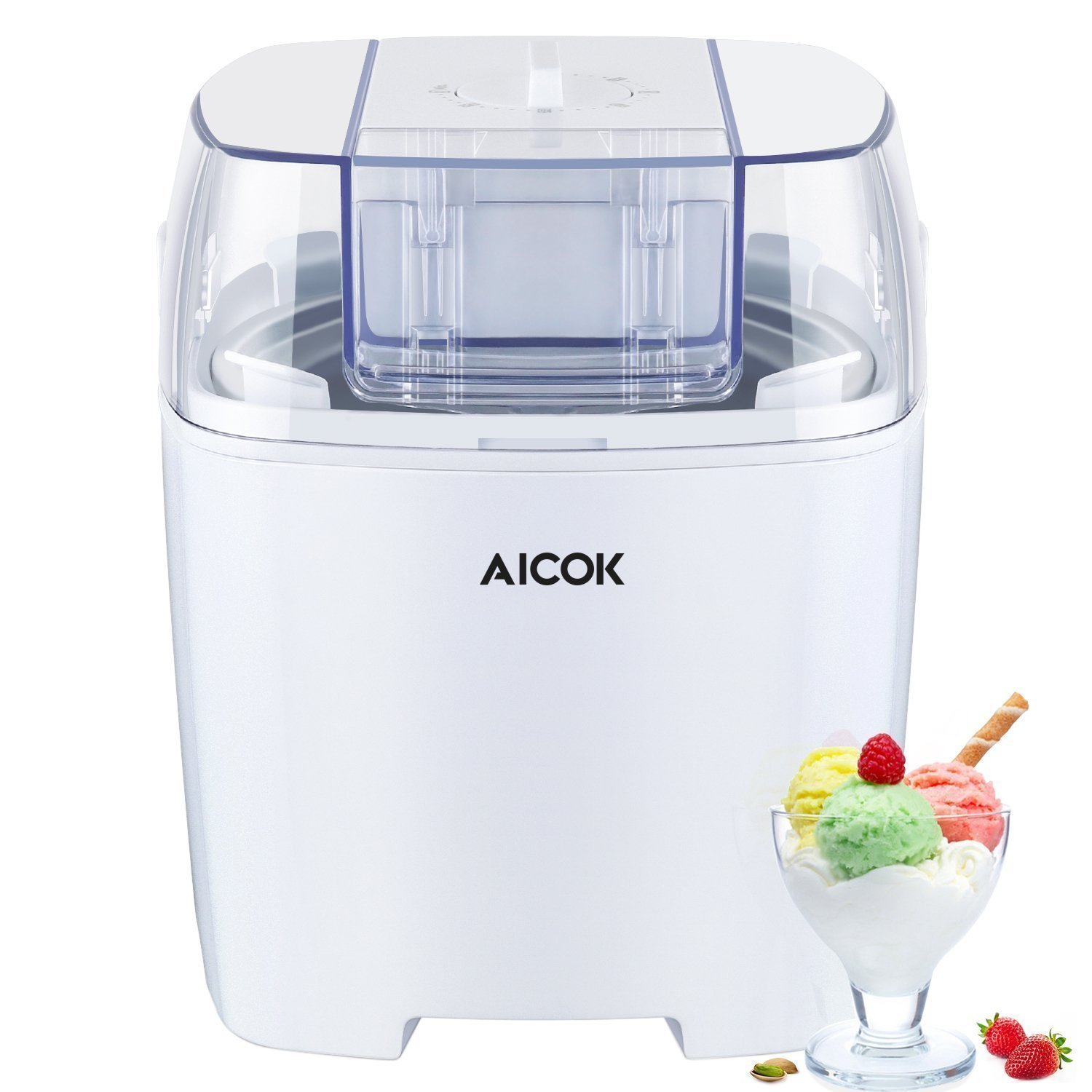 Aicok Ice Cream Maker, 1.5 Quart Ice Cream Machine, Frozen Yogurt and Sorbet Machine with Timer Function and Recipe Book, White