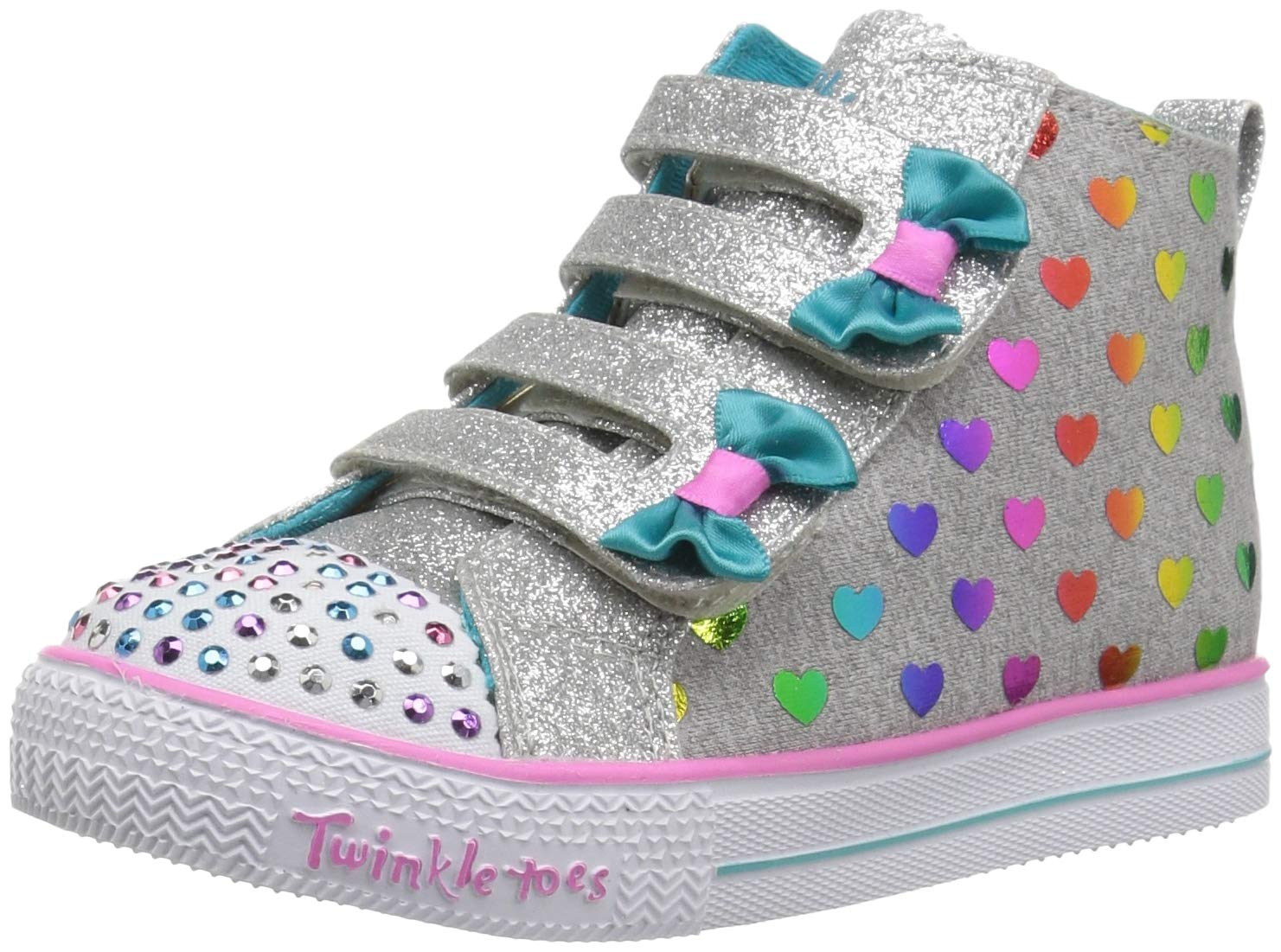 Skechers Kids Girls' Shuffle Lite-Fancy Flutters Sneaker, Gray/Multi, 12 Medium US Little Kid