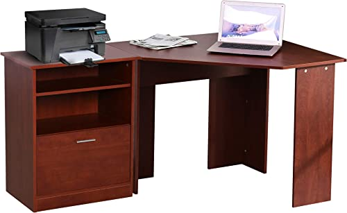 HOMCOM Computer Desk w Printer Cabinet L-Shaped Wood Corner Table Desk Workstation Gaming PC Gaming Laptop Desk Home Office Study Small Space, Cherry Wood Color