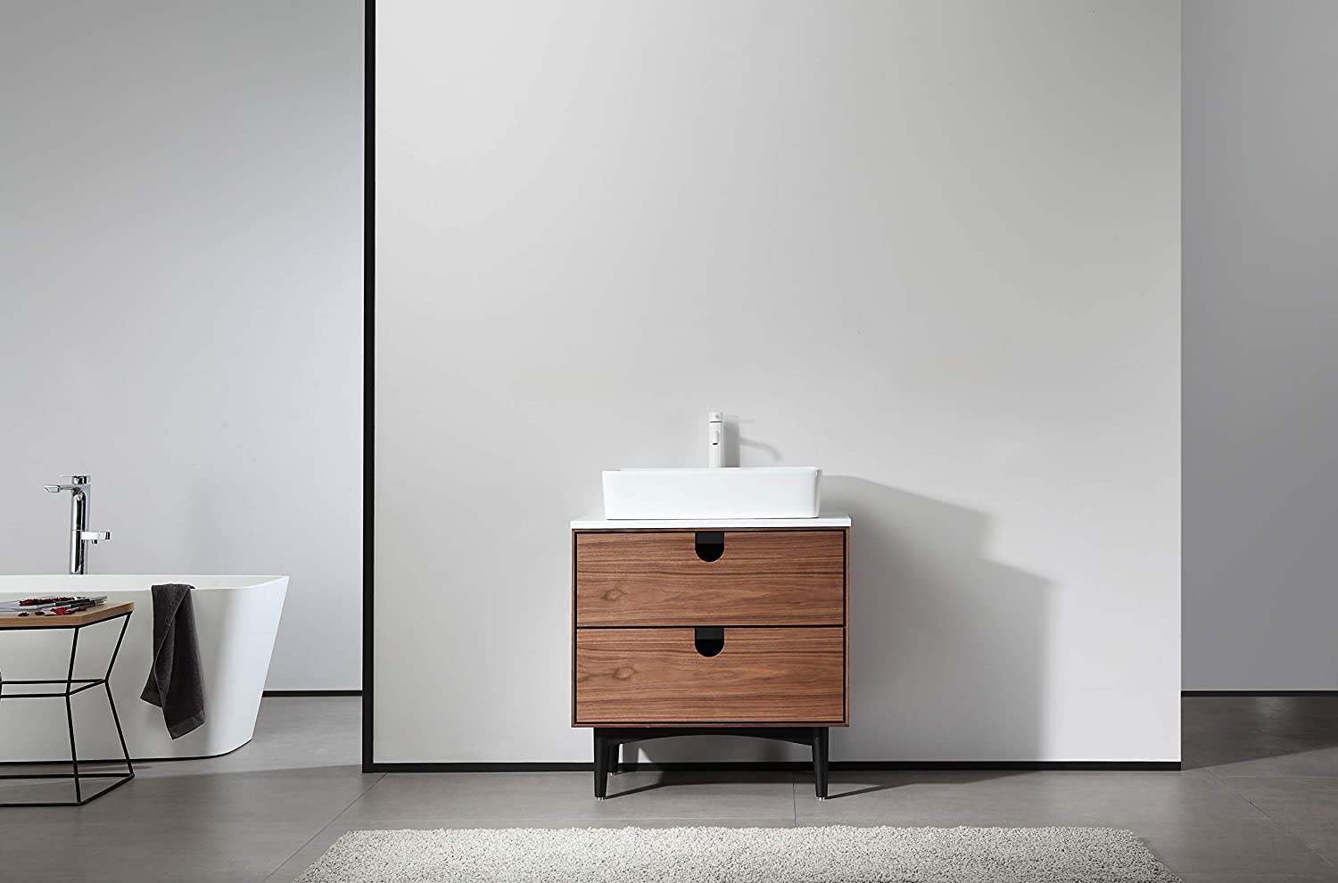 Portree 30 Walnut Mid Century Free Standing Bathroom Vanity Amazon Com