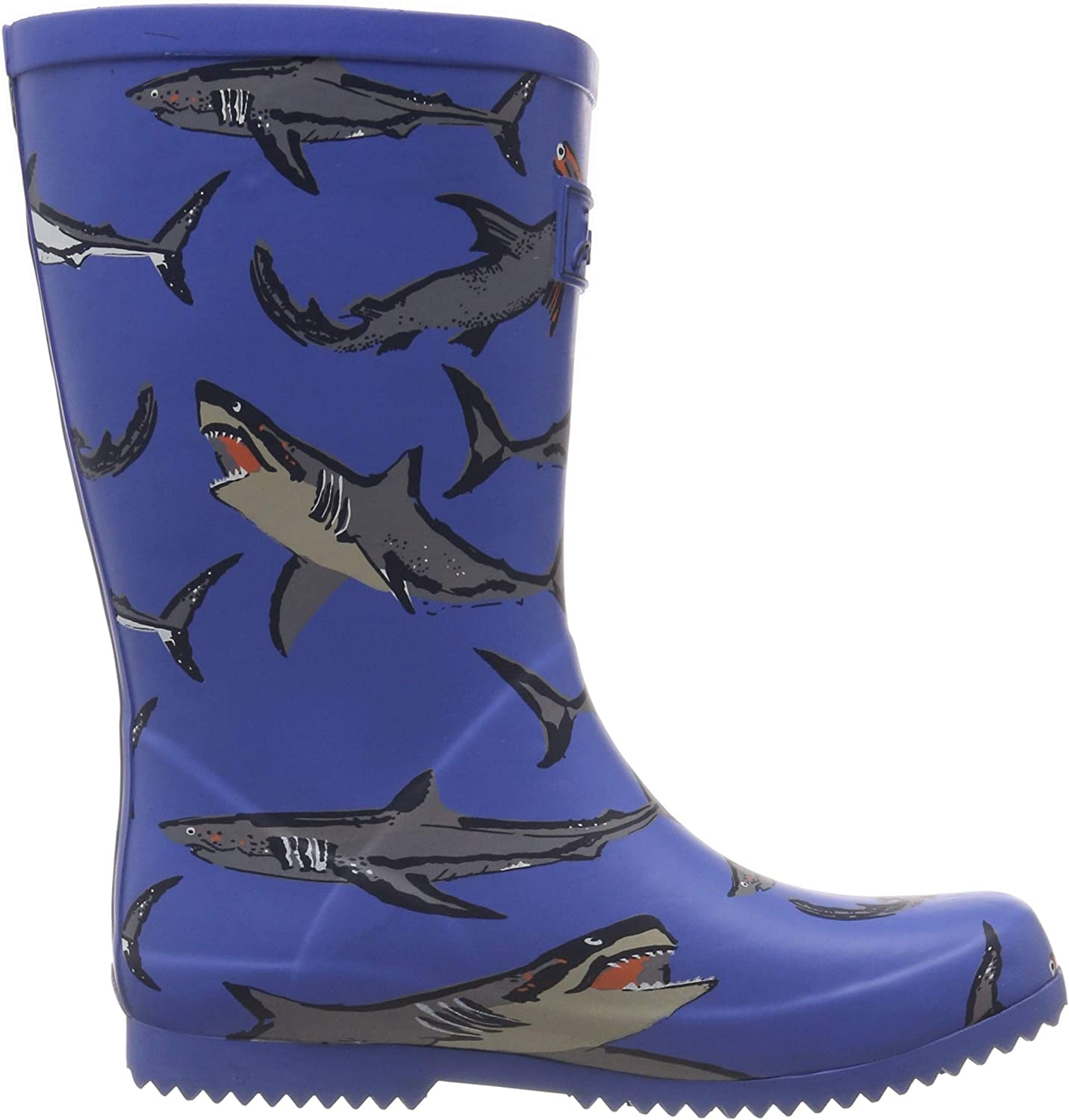 Toddler//Little Kid//Big Kid Joules Kids Boys Roll Up Packable Welly Rain Boot Light Blue Sharks 13 Little Kid