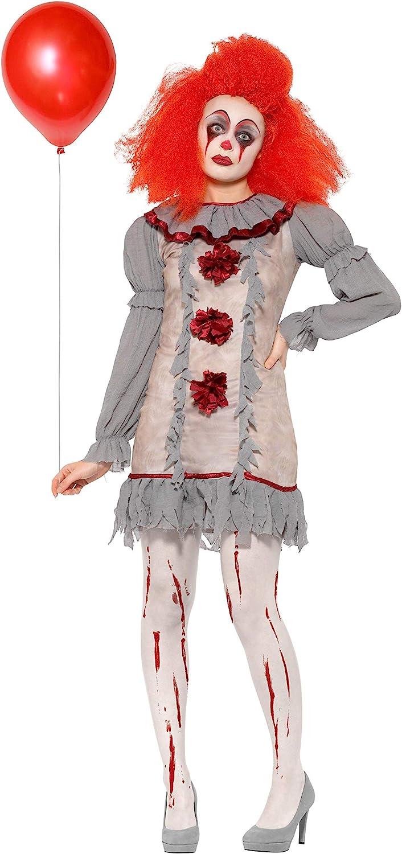 Smiffys Clown Lady Costume Disfraz de payaso vintage, color gris y rojo, M-UK Size 12-14 (47564M)