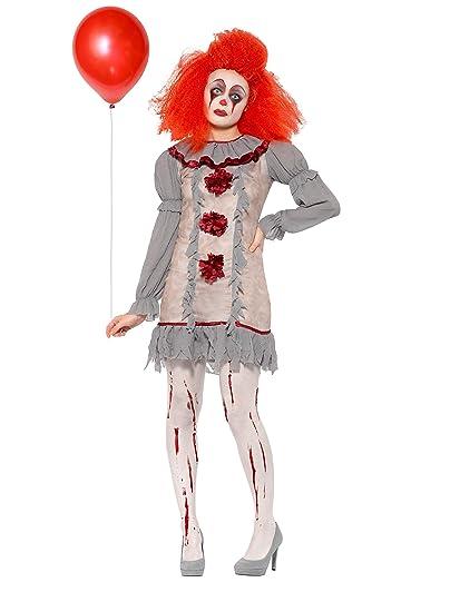 Smiffys 47564L - Disfraz de payaso para mujer (talla 42-46), color gris y rojo