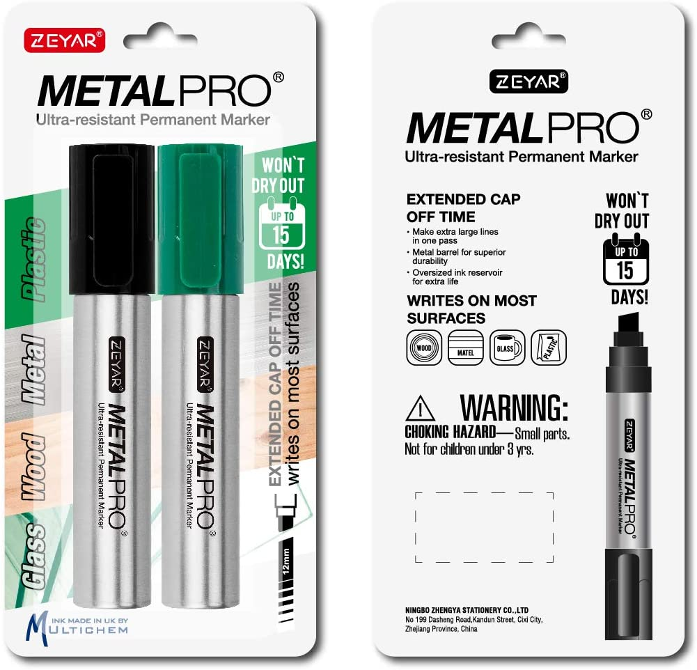 ZEYAR Permanent Markers, JUMBO Size, Set of 2, Premium Waterproof & Smear Proof Markers, Quick Drying- Great on Plastic,Wood,Stone,Metal and Glass for Doodling and Marking (Black & Green)