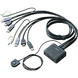 エレコム KVMスイッチ USB HDMI スピーカー 手元スイッチ 2台 KVM-HDHDU2