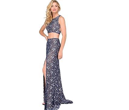 Jovani style #46002 Navy Lace Two-Piece High Slit Prom Dress