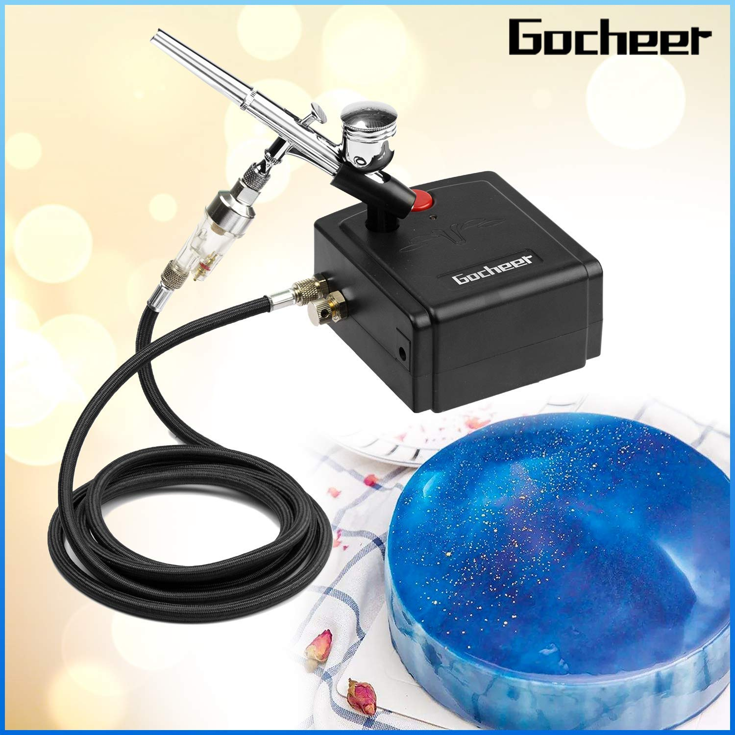 Gocheer Mini Airbrush Kit, Dual-Action USB Rechargeable Air Brush Pen Gravity Feed Airbrush for Makeup Art Craft Nails Cake Decorating Modeling Tool with Airbrush Cleaning Set