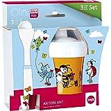 Emsa 509106 Anton Ant - Plato, cuchara y vaso con tapa para bebé, diseño de hormiga