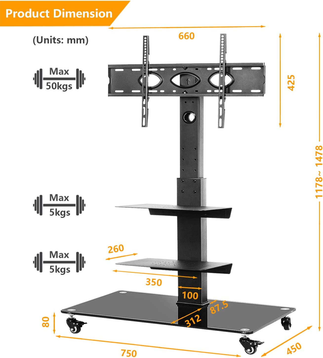 Mobile TV Cart Trolley TV Floor Stand Rolling with Swivel Mount and Lockable Wheels for Most 32 37 40 42 47 50 55 60 65 70 inch LED LCD Flat Panel or Curved Screen TVs up to 50kg Black