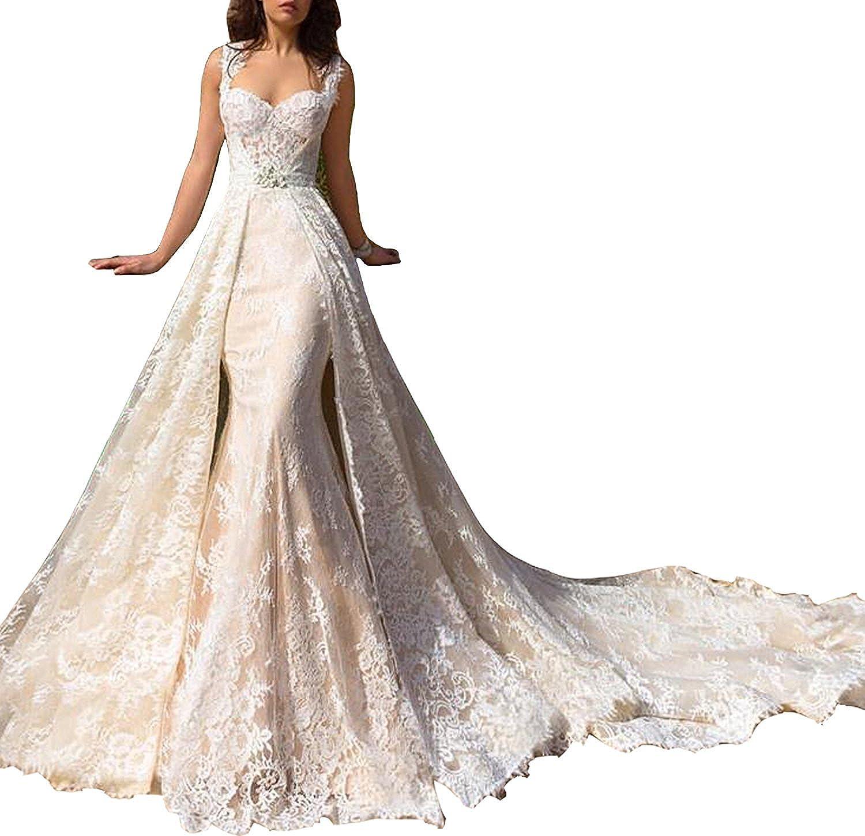 Holygift Women S Detachable Skirt 2018 Wedding Dress Lace Mermaid