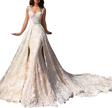 Holygift Women S Detachable Skirt 2018 Wedding Dress Lace Mermaid Train Bridal Gowns Hy140 White