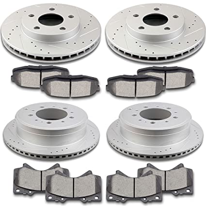 SCITOO Brake Parts, 4pcs Discs Brake Rotors and 8pcs Ceramic Dics Brake Pads Full Kit