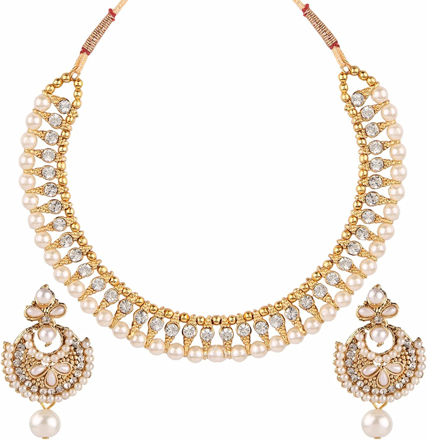 Efulgenz Indian Bollywood Antique Ethnic Gold Tone Traditional Designer Jewelry Pearl Choker Necklace Set for Women and Girls: Amazon.es: Joyería