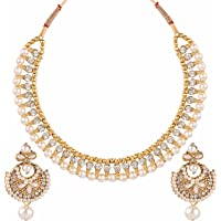 Efulgenz Indian Bollywood Bridal Wedding 14 K Gold Plated Faux Pearl Crystal Rhinstone Choker Necklace Earring Jewelry…