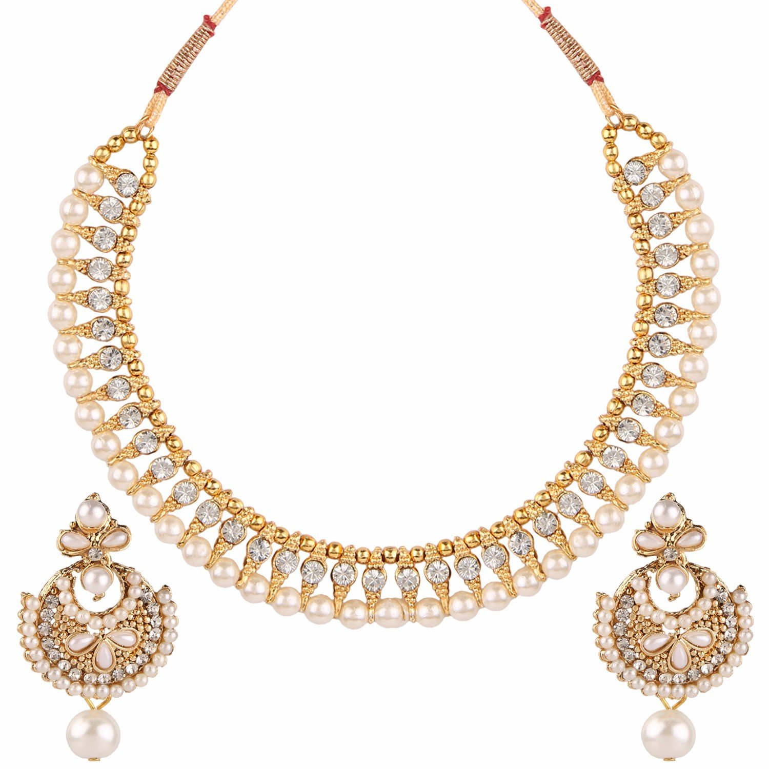 Efulgenz Handcrafted Simulated Pearl Beaded Classic Round Chunky Collar Strand Necklace Set Costume Fashion Accessories for Women and Girls