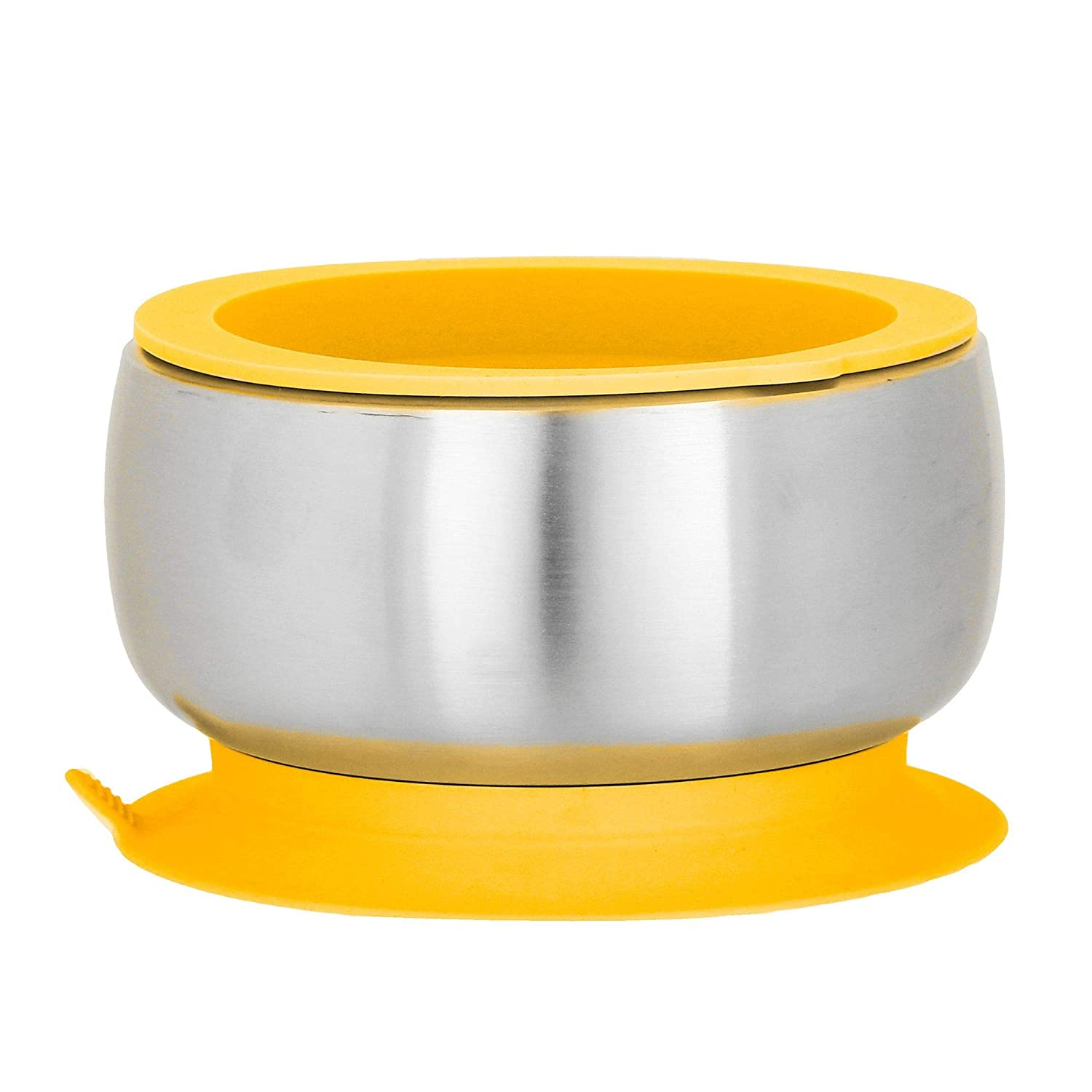 Avanchy Stainless Steel Baby Bowl with Spoon Air Tight Lid Combo, Toddler, Kid, Child Suction Bowl Spoon. 18 8, BPA Free, BPS Free, Lead Free and Phthalate Free. Baby, Yellow