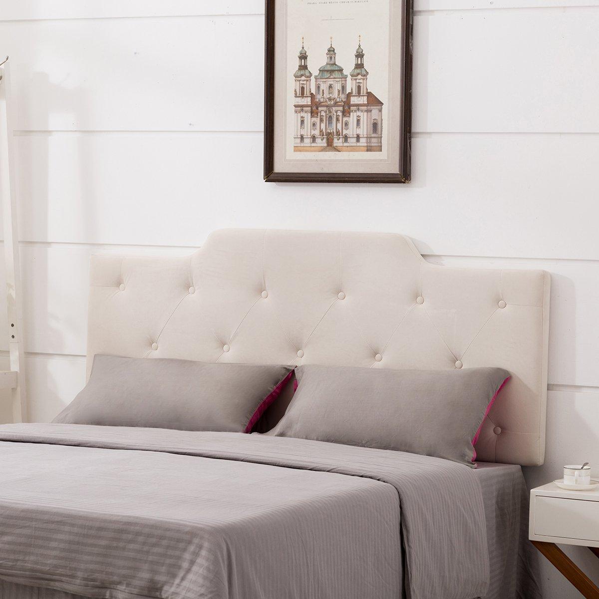 upholstered headboard velvet button tufted adjustable headboards king size 727792786621 ebay. Black Bedroom Furniture Sets. Home Design Ideas