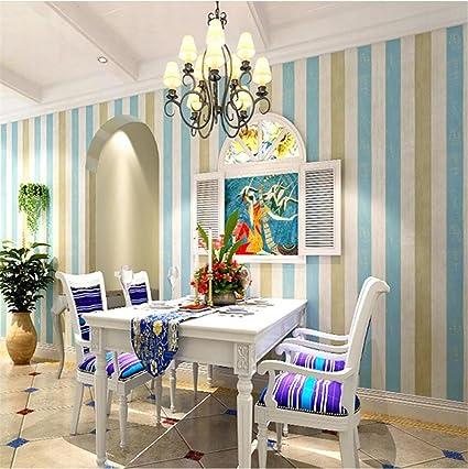 HM Papel pintado Vintage estilo mediterráneo patrón de rayas verticales rollo de papel tapiz 3D para