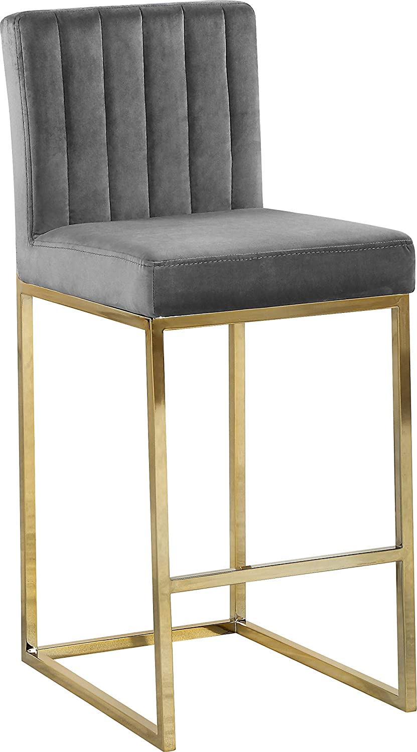 Meridian Furniture Giselle Collection Modern Contemporary Grey Velvet Upholstered Counter Stool with Polished Gold Metal Base, 16 W x 19 D x 37.5 H,