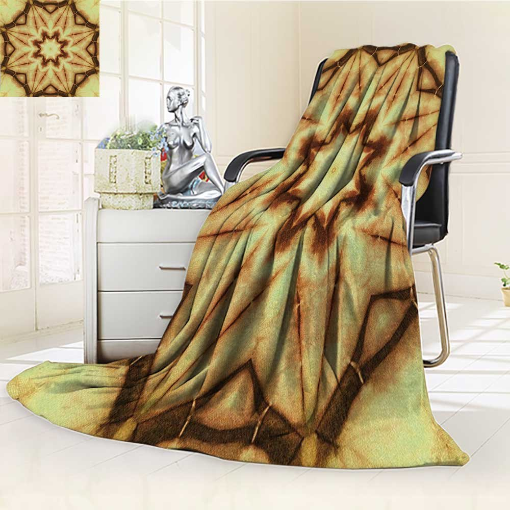 Digital Printing Blanket Tie Dye Thai Motif with Dirty Smear and Rough Stains Mustard Brown Summer Quilt Comforter by AmaPark