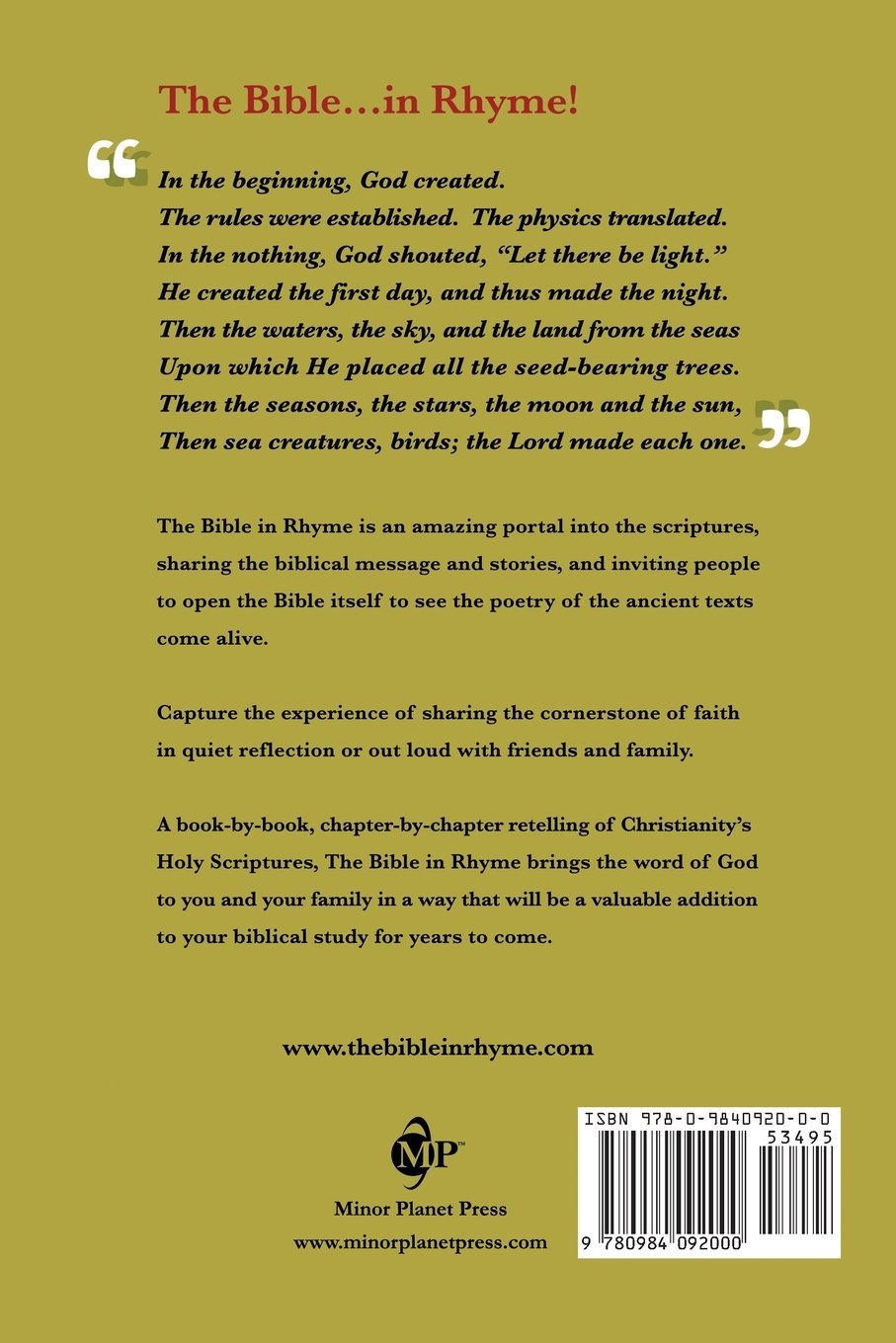 The Bible in Rhyme: Kyle Holt: 9780984092000: Amazon.com: Books