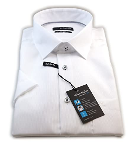 Seidensticker Herren Kurzarm Hemd Splendesto French Kent Regular Fit weiß strukturiert mit Piping 189891.01
