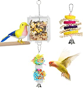 VavoPaw Hanging Bird Feeding Toy, Colorful Bird Foraging Toys Creative Irregular Grid Cage Parrot Feeder Toy Acrylic Box Food Holder Toys Swing Toys for Parakeet, Cockatiel, Mynah, Sparrow