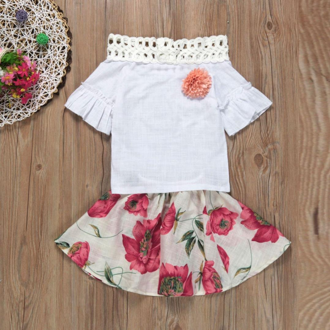 FORESTIME/_baby clothes girl FORESTIME Summer Princess Baby Girls Trumpet Sleeves Shirt+Floral Fluffy Tutu Dress Set