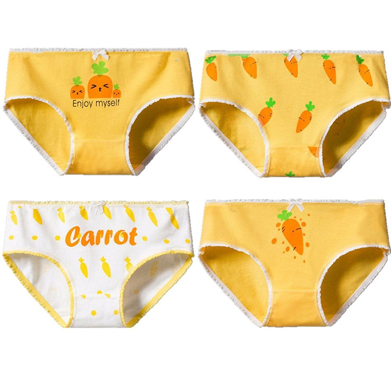 DVANIS 4-Packs Girls Underwear Hipster Knickers Briefs Print Comfort Cotton Carrot