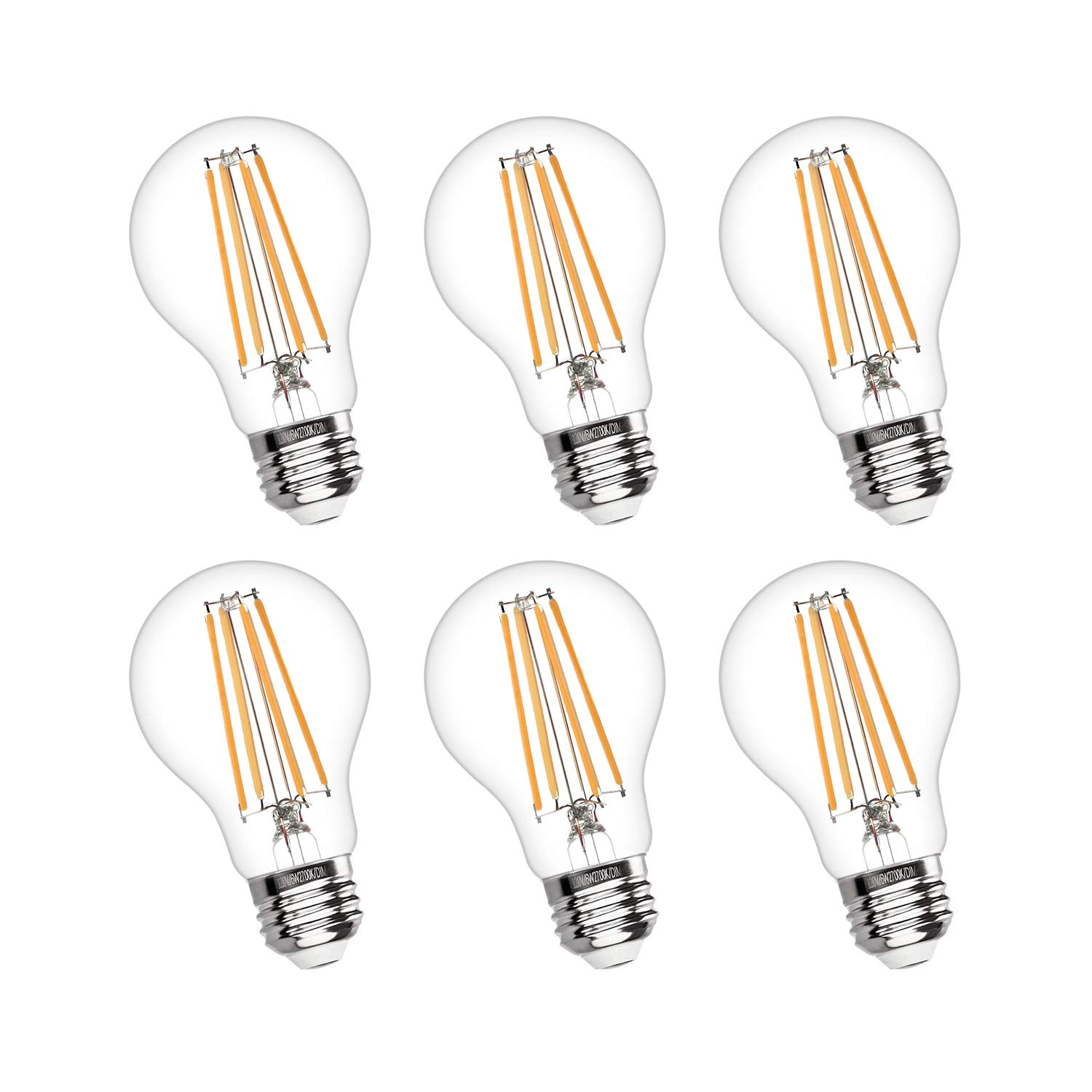Vintage LED Edison Bulb Dimmable 6W A19 LED Light Bulbs 2700K Soft White 600LM Led Filament Bulb 60W Incandescent Equivalent E26 Medium Base Decorative Clear Glass for Home, Restaurant, Cafe, 6 Pack by Boncoo (Image #1)