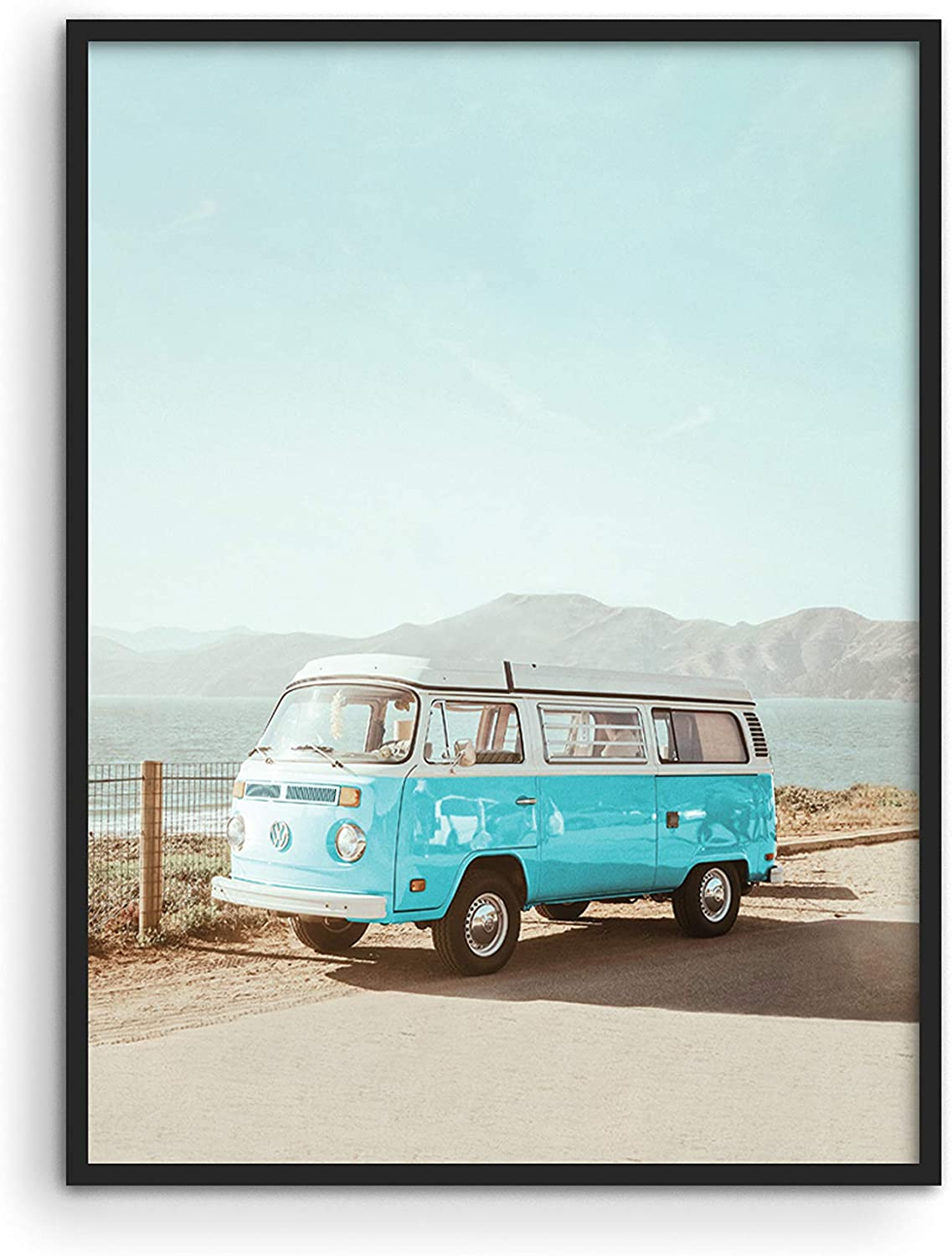 "Vintage Beach Posters Surfer Wall Art - by Haus and Hues | Surfer Van Decor and Vintage Beach Prints | Vintage Beach Wall Art California Beach Poster and Beach Wall Decor | 12"" x 16"" UNFRAMED (Blue Van)"